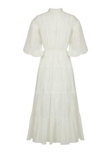Nocturne Balon Kol Midi Boy Elbise Beyaz